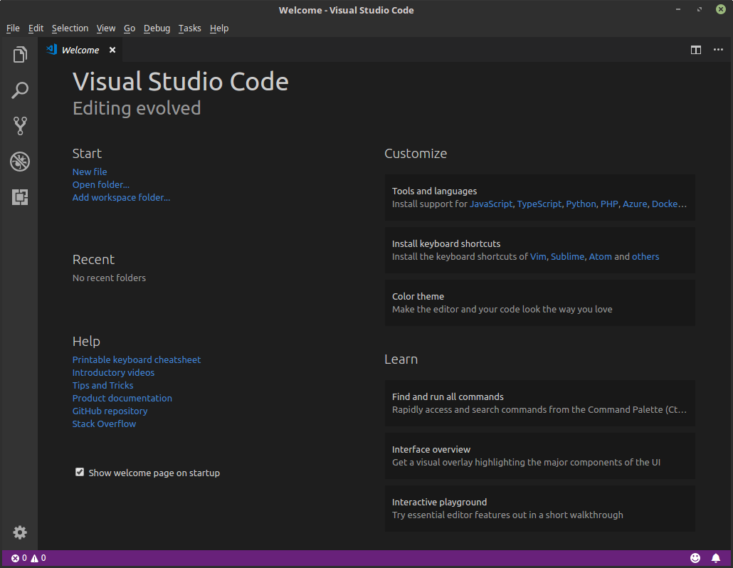 Visual Studio Open Screen