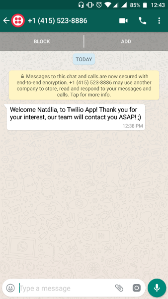 Using cloud functions to send WhatsApp messages through Twilio API