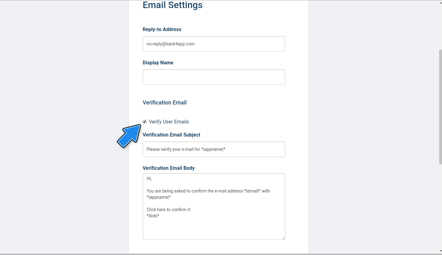 User registration with email verification | Back4App