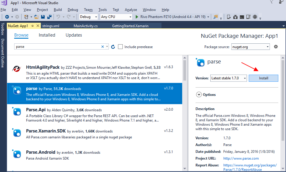 Visual Studio Browse NuGet Packages