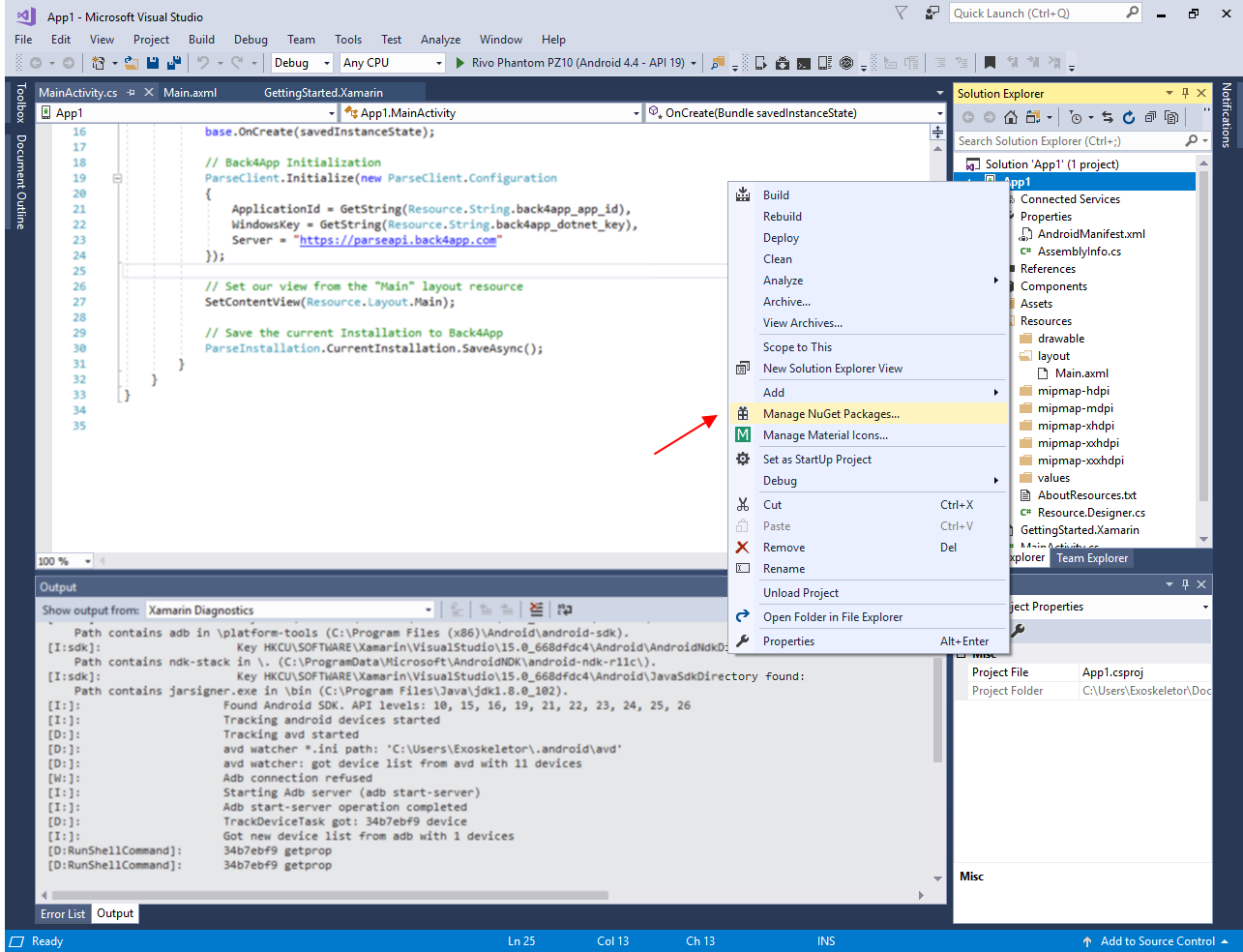 Visual Studio Manage NuGet Packages